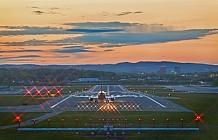 plane leaving at dusk